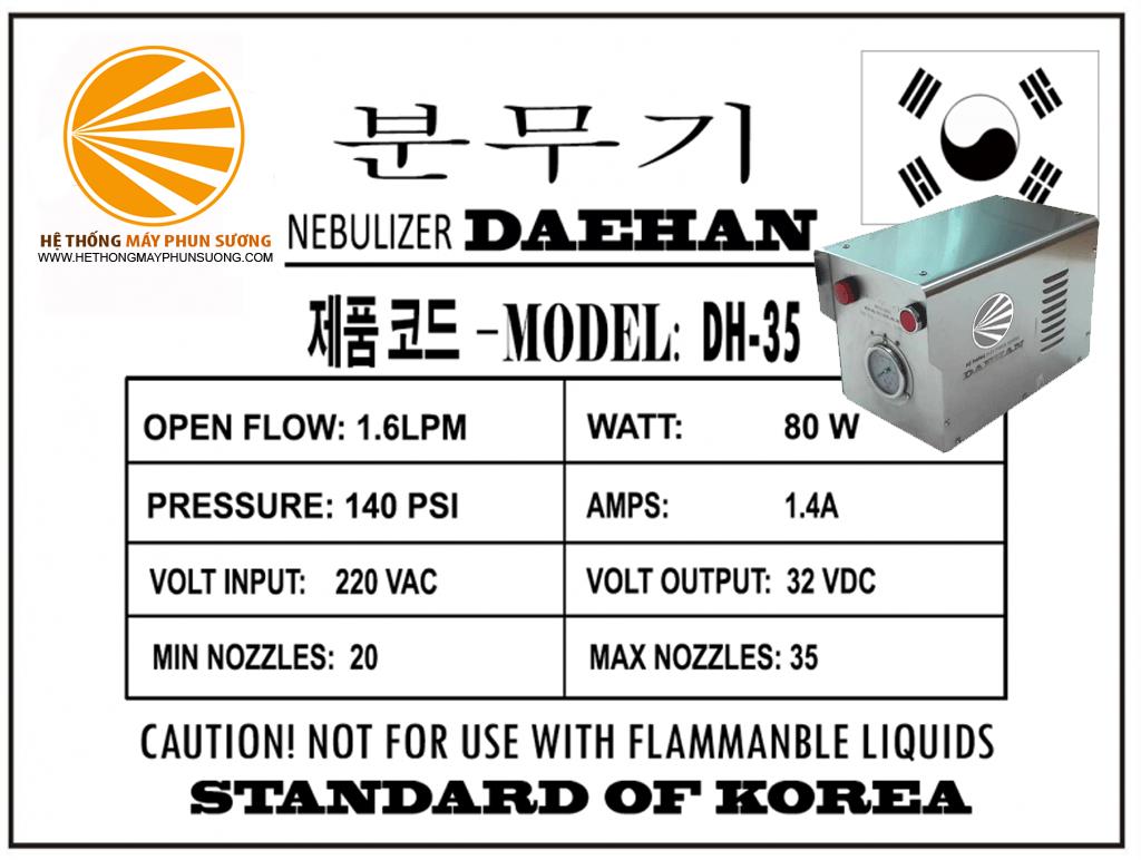 Thông số kĩ thuật của máy phun sương DH35