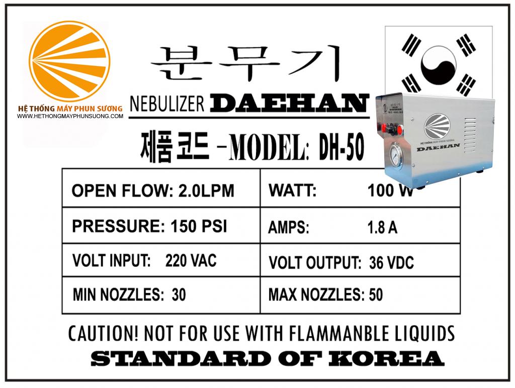 Thông số kỹ thuật máy phun sương DH-50