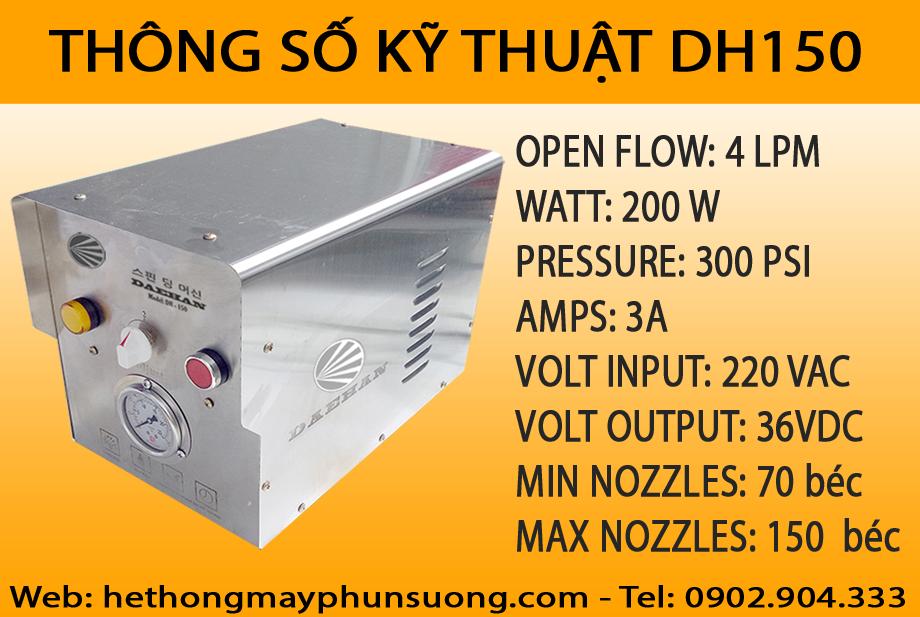 Thông số kỹ thuật máy phun sương Daehan DH150